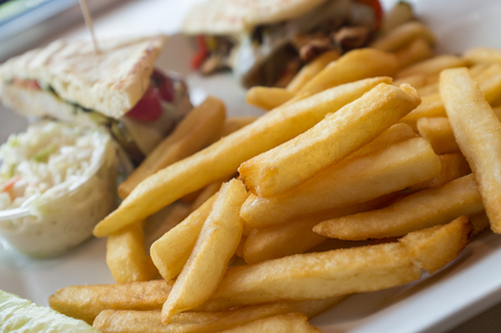 cole: Grilled pesto chicken panini with crispy steak fries cole slaw and pickle
