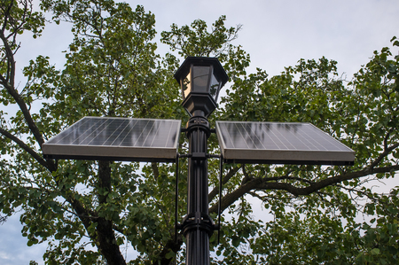 soaks: Solar powered lamp post soaks up suns energy on summer day