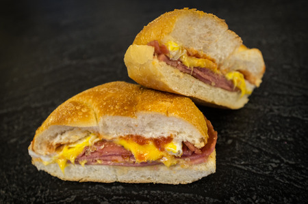 taylor: Taylor ham egg and cheese breakfast sandwich on a kaiser roll from New Jersey