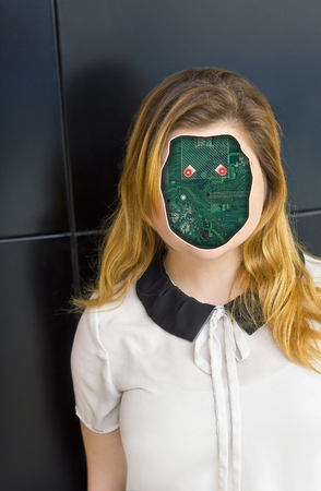 bionic: Human cyborg robot with anonymous circuit board face