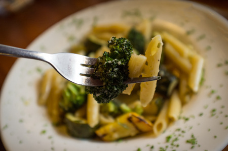 primavera: Vegetarian penne primavera with white wine sauce and green vegetables