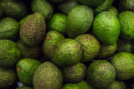 hass: Fresh organic avocados in display at local farmers market Stock Photo