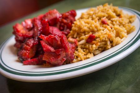 boneless: Chinese boneless bbq spare ribs with pork fried rice Stock Photo