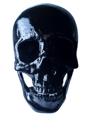 terrifying: Terrifying halloween skull on white for October holiday background Stock Photo
