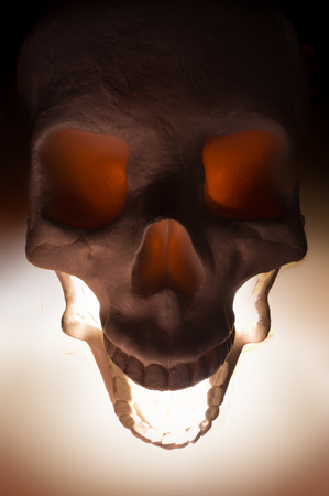terrifying: Terrifying angry halloween skull for October holiday background Stock Photo
