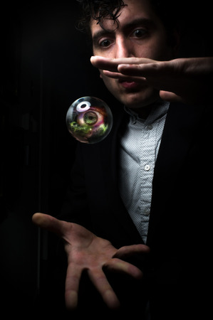 psychic reading: Holding third eye in fortune teller magic crystal ball