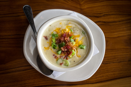 loaded: Creamy loaded baked potato soup with scallion