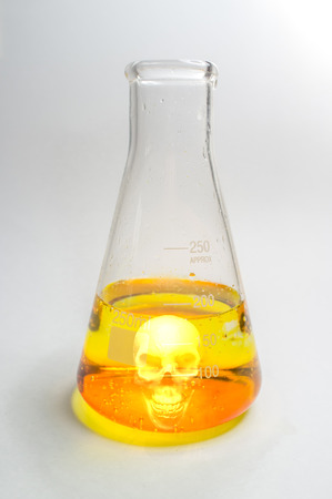 milliliters: Close up glass measuring beaker with poison skull