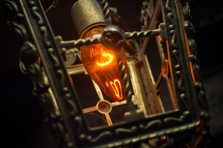 metal filament: Decorative antique style hanging gothic lantern glowing