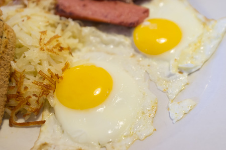 homestyle: Eggs sunny side up toast and sausage American breakfast