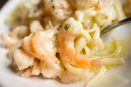 scampi: Fresh Italian shrimp scampi with shaved parmesan cheese