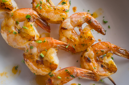 creole: Fresh hot grilled jumbo shrimp kebabs with parsley