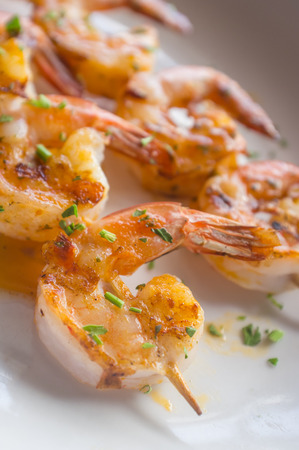 jumbo shrimp: Fresh hot grilled jumbo shrimp kebabs with parsley