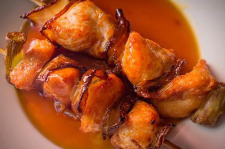 kebob: Barbecue Japanese yakitori beef kebab skewers with sweet sauce Stock Photo