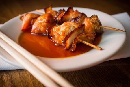 Barbecue Japanese yakitori beef kebab skewers with sweet sauce Stock Photo