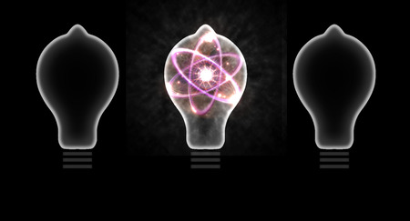 atomic: Atomic particle as lightbulb filament and nuclear energy 3D illustration