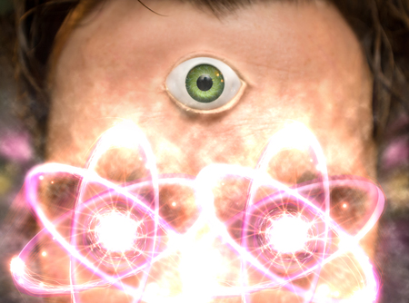 third eye: Man with third eye and atomic particles for science and fantasy background