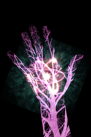 Close up human blood vessels in male hand with radioactive atomic power, 3D illustration Stock Photo
