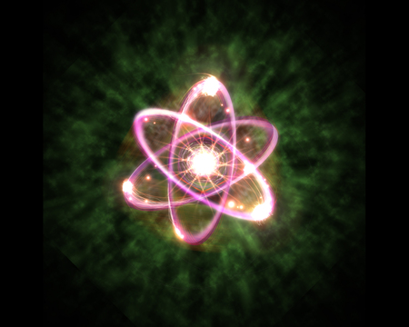 neutrons: Close up of pink atomic particle background science 3D illustration Stock Photo