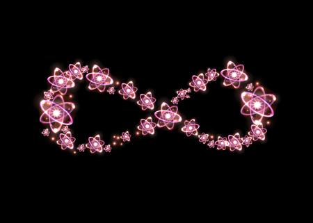 nucular: Atom particles make up shape of infinity symbol, 3D illustration