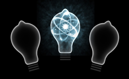nuclear fission: Atomic particle as lightbulb filament and nuclear energy 3D illustration