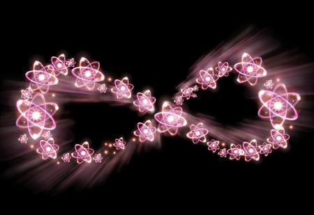 Atom particles make up shape of infinity symbol, 3D illustration