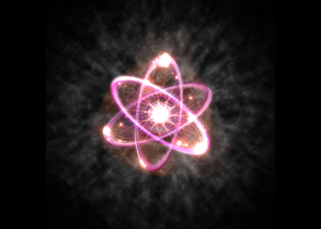 Close up of pink atomic particle background science 3D illustration Stock Photo