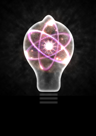 fission: Atomic particle as lightbulb filament and nuclear energy 3D illustration
