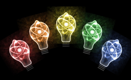 nuclear bomb: Atomic particle as lightbulb filament and nuclear energy 3D illustration