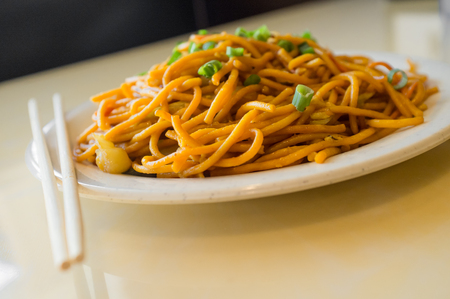 Chinese food tasty plain vegetable lo mein noodles at restaurant Stock Photo