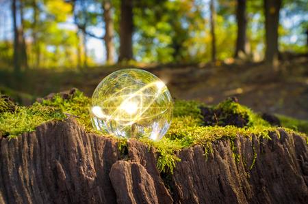 Magic crystal ball atom on tree stump moss for autumn fantasy imagery Archivio Fotografico
