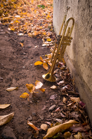 pealing: Old worn trumpet stands alone in street with fall leaves