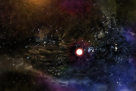 Giant universe starscape 3D illustration with colorful space clouds Stock Photo