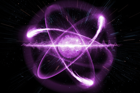Close up of pink atomic particle background science 3D illustration Imagens