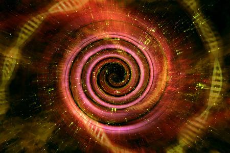Universe black hole tunnel space background 3D Illustration Imagens