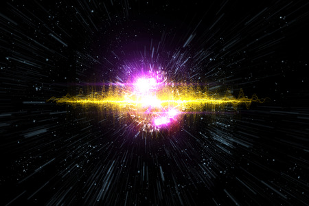 explosive gas: Cosmic galaxy explosion in outer space, 3D illustration Stock Photo