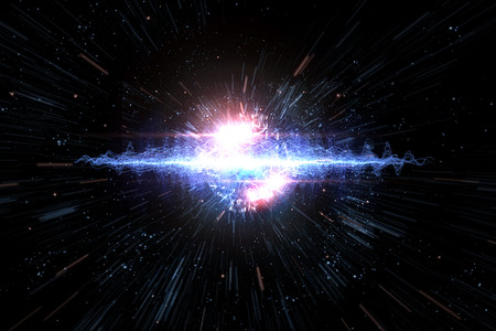 Cosmic galaxy explosion in outer space, 3D illustration Stock Photo