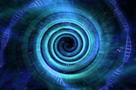 宇宙ブラック ホール トンネル空間は 3 D イラストを背景します。 写真素材