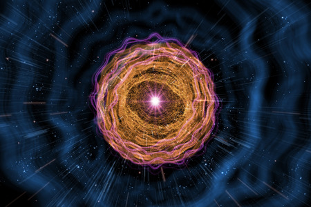 nucular: Universe black hole tunnel space background 3D Illustration Stock Photo