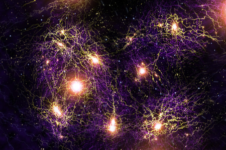 nucular: Close up atomic particle clusters background science 3D illustration