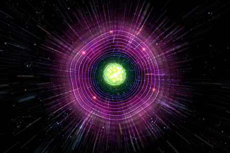 neutrons: Close up of colorful neon atomic particle background, 3D illustration