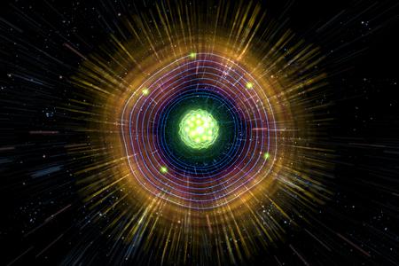 bombe atomique: Gros plan du néon coloré fond particule atomique, illustration 3D