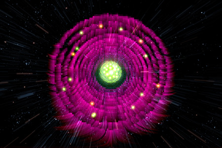 atomic: Close up of colorful neon atomic particle background, 3D illustration