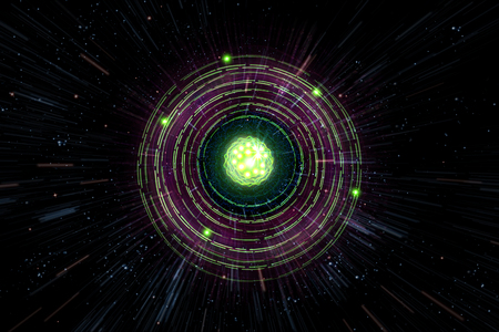 Close up of colorful neon atomic particle background, 3D illustration