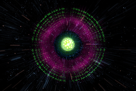 splitting: Close up of colorful neon atomic particle background, 3D illustration