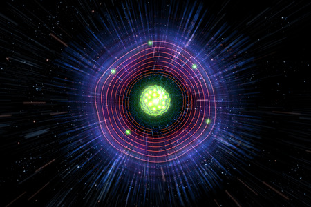 nuclear fission: Close up of colorful neon atomic particle background, 3D illustration