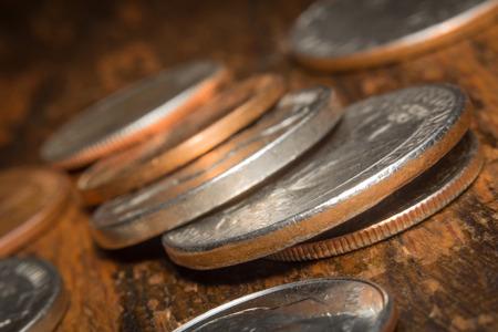 Macro closeup pile of loose change American currency Stock Photo