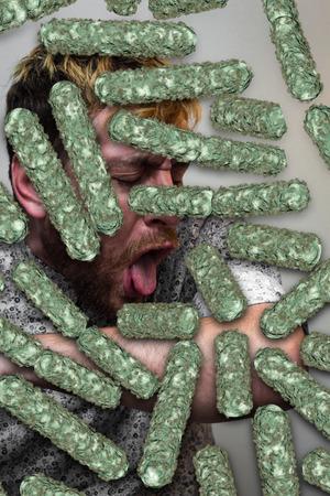 Zieke hoesten man met een luchtweginfectie virussen Stockfoto