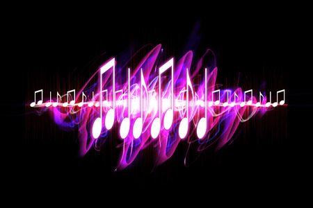 Colorful visual neon soundwave 3D illustration with musical notes