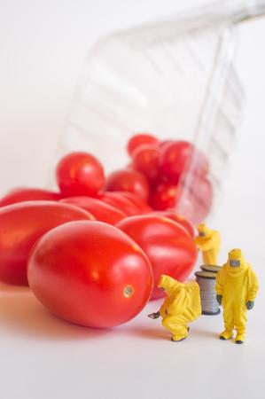 Miniature figurine hazmat team inspection of gmo food